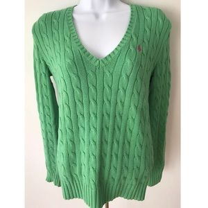Ralph Lauren Sport Sweater Green V-Neck Sz M Top